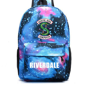 Riverdale South Side Serpents Pattern Riverdale Logo Blue Galaxy Backpack Schoolbag Bag