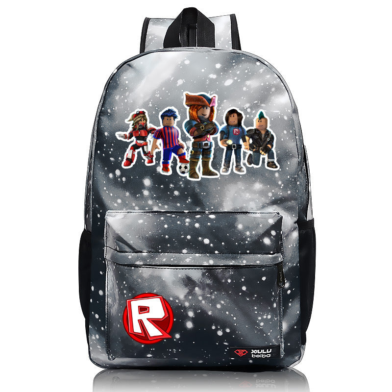 Roblox Backpack New Pattern Series Grey Lightning Daypack Football Team Bag