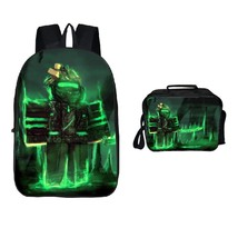 Roblox Backpack Package Series Lunch Box Schoobag Bookbag Green Light