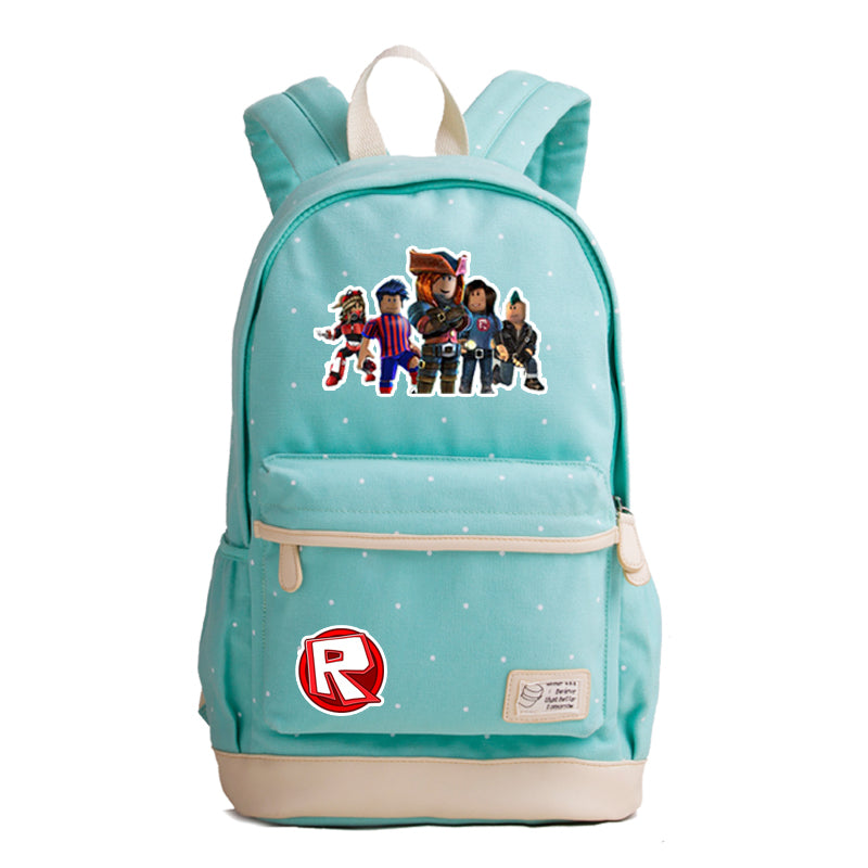 Roblox Theme Cute Series Light Blue Backpack Daypack Schoolbag Family Bag