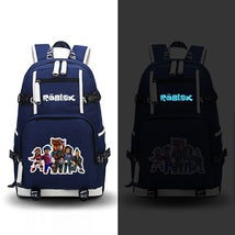 Roblox Theme Luminous Series Blue Backpack Daypack Schoolbag Five Roles Bag