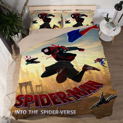 Spider-Man Into the Spider-Verse Bedding Set Duvet Cover Set Bedroom Set
