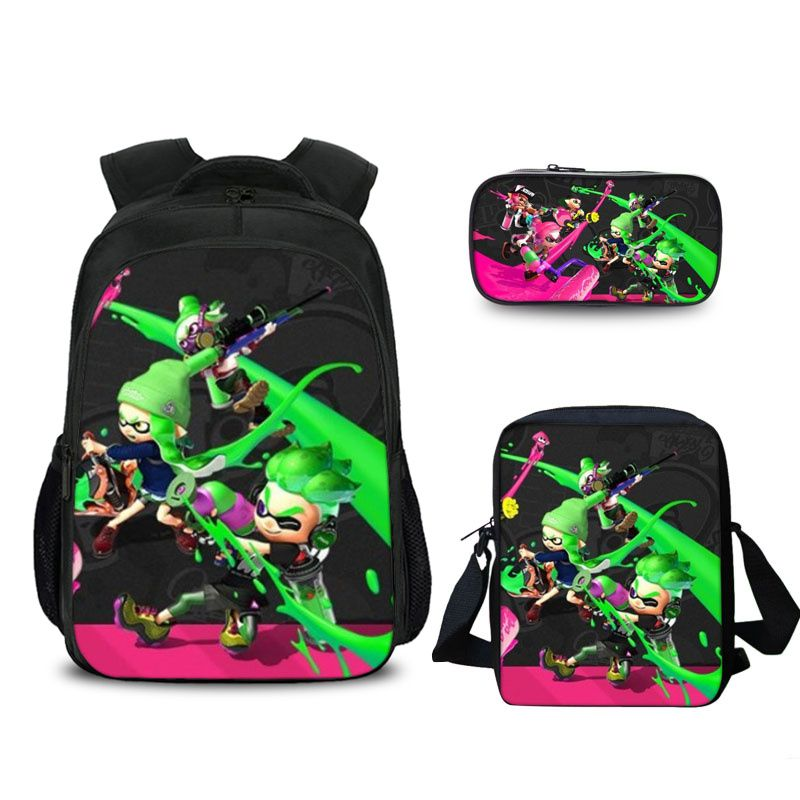 Splatoon 2 Green Backpack Pencil Case And Shoulder Bags Back to School Set 3 In 1