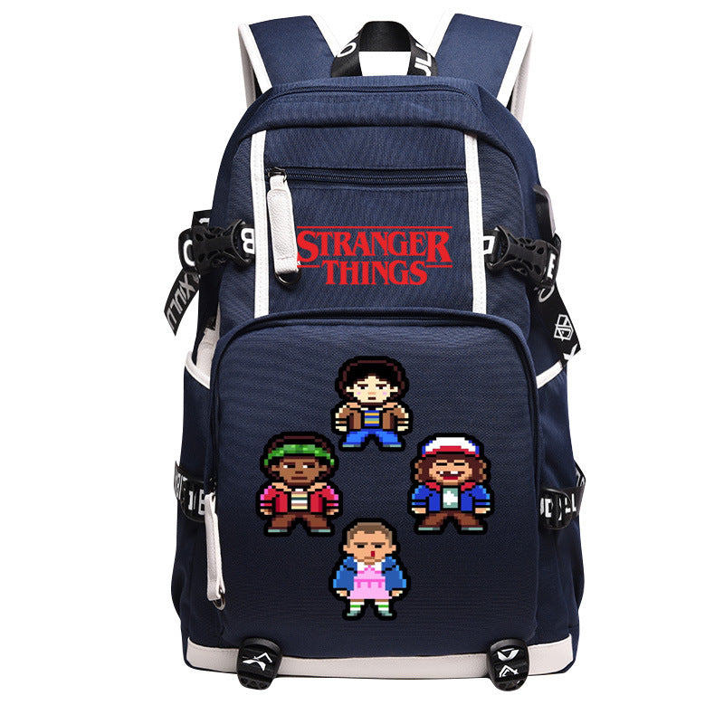 Stranger Things Large Series Blue Backpack Daypack Schoolbag Four Roles Bag