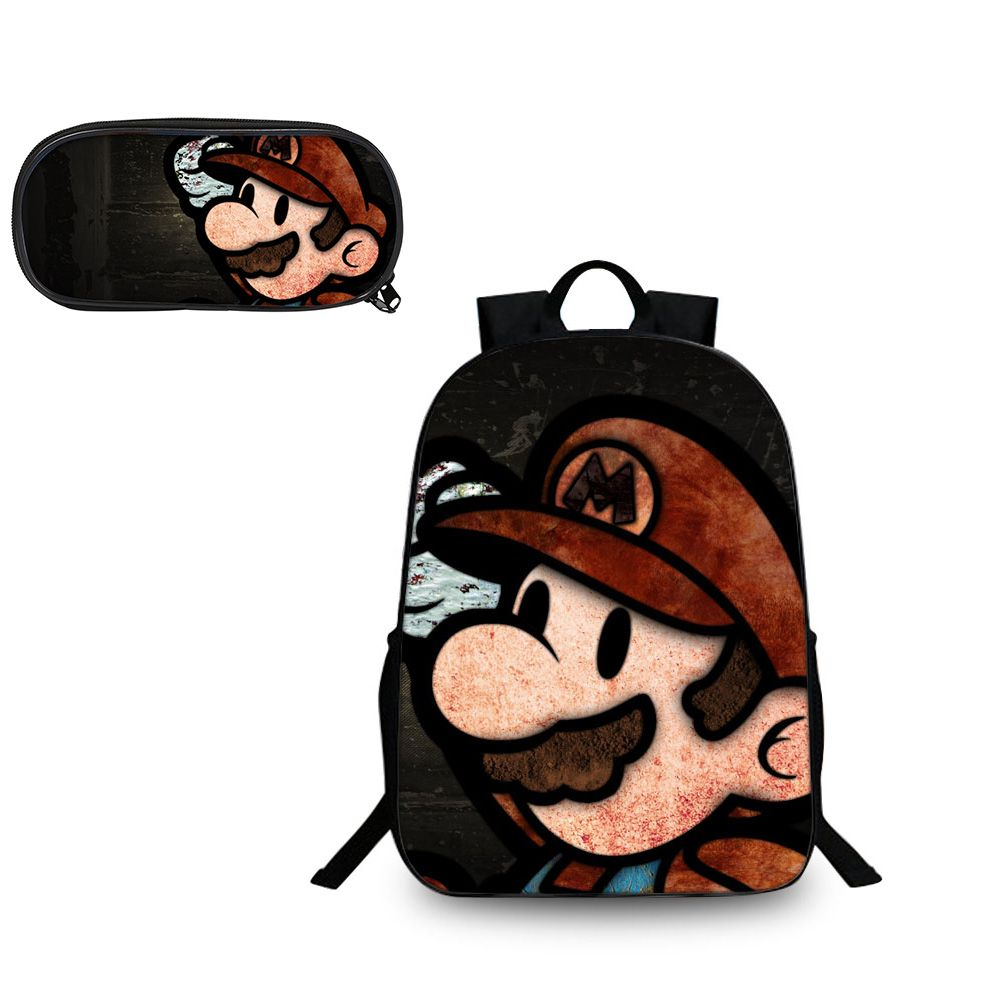 Super Mario Odyssey Brown Hat Pattern Backpack and Pencil Case Back to School Set 2 In 1 Bag