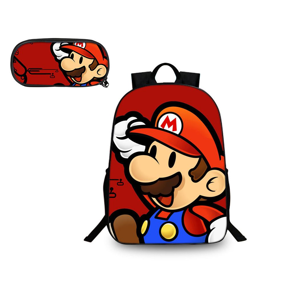 Super Mario Odyssey Mario Avatar Pattern Backpack and Pencil Case Back to School Set 2 In 1 Bag