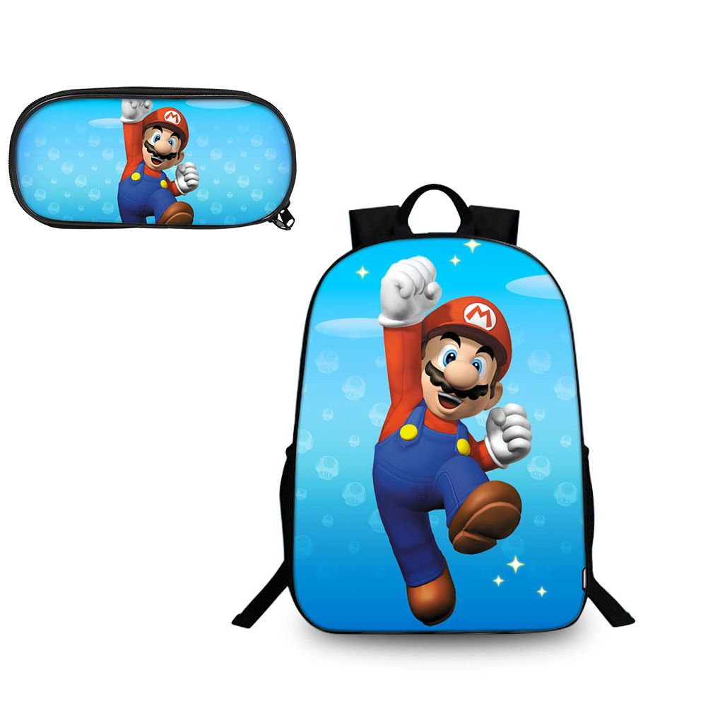 Super Mario Odyssey Mario Classic Pattern Backpack and Pencil Case Back to  School Set 2 In 1 Bag