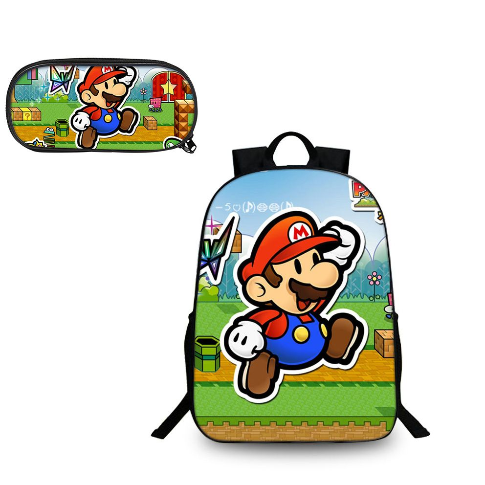 Super Mario Odyssey Mario Comic Logo Pattern Backpack And Pencil Case Back To School Set 2 In 1 Bag