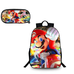 Super Mario Odyssey Mario Kart Pattern Backpack and Pencil Case Back to School Set 2 In 1 Bag