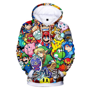 Super Smash Bros Long Sleeve Pullover Hoodie for Kids