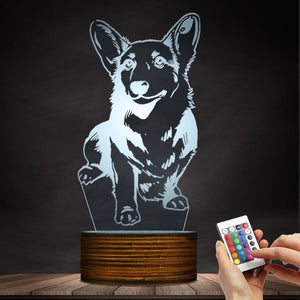 Cute Corgi Dog Sitting Color Changing LED Lamp Night Light