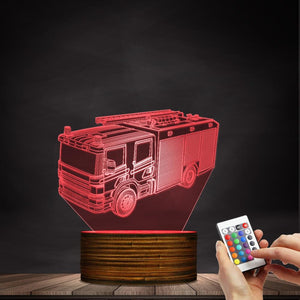 Fire Engine Truck Color Changing LED Lamp Night Light Gift For Firemen FireFighters