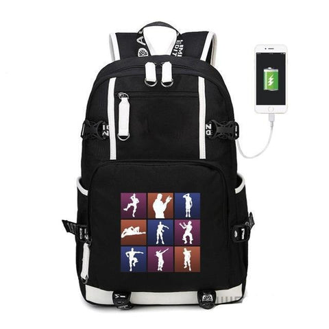 All Emotes - Glowing Fortnite Battle Royale School Backpack