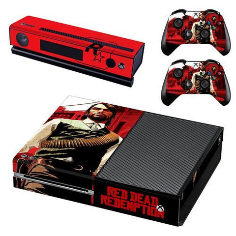 Xbox One Skin Console, Kinect + 2x Controller Sticker Bundle - Red Dead Redemption 2