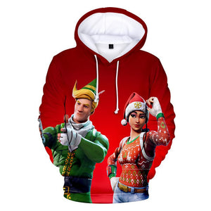 Fortnite Hoodie 3D Christmas Santa Hat Teen Sweatshirt