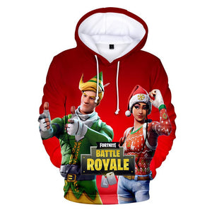 Fortnite Hoodie 3D Christmas Santa Hat Teen Sweatshirt Battle Royale