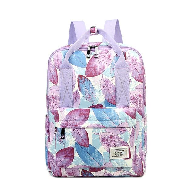 Cute Purple Leaves Pattern Backpack School Bag Laptop Bag