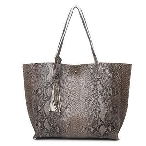 Female Leather Bags Snake Pattern Large Tote Bag
