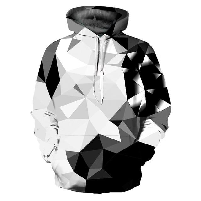 3D Black & White Diamond Blocks Hoodies Sweatshirts