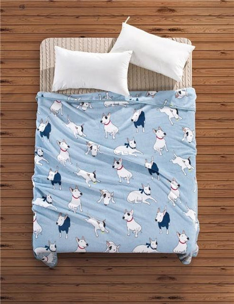 Bull Terrier Dog Cats Soft Plush Blanket