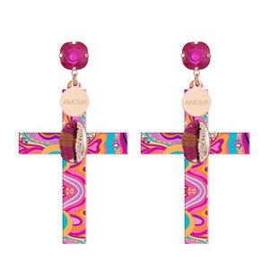 Fancy Rood Cross Stud Earrings with Crystal Stone
