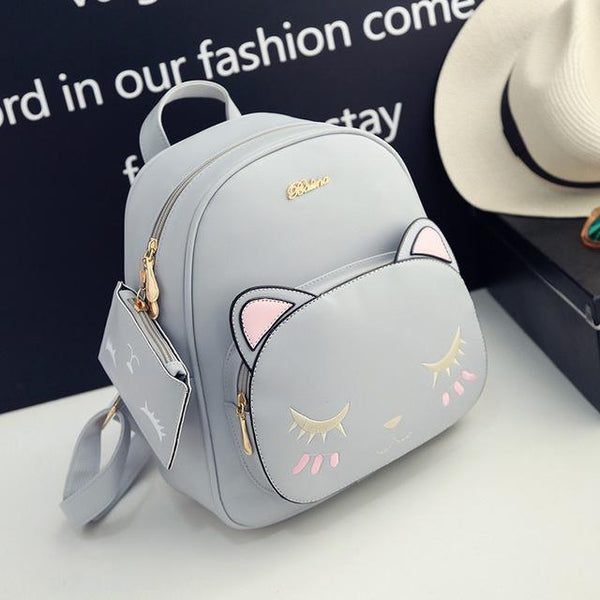 Cute Kitten Cat PU Leather Backpack for Women
