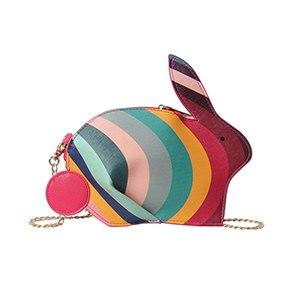 Cute 3D Rabbit Shape Leather Shoulder Bag Message Crossbody Bag