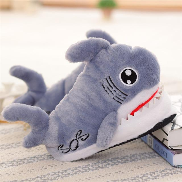 Cute Shark Shape Slipper Shoes Furry Warm Soft