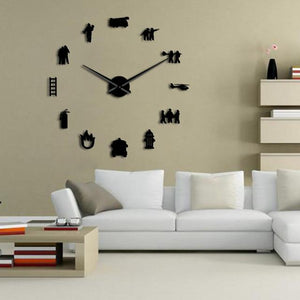 Firefighter Fireman Frameless Large Wall Clock DIY Home Decor