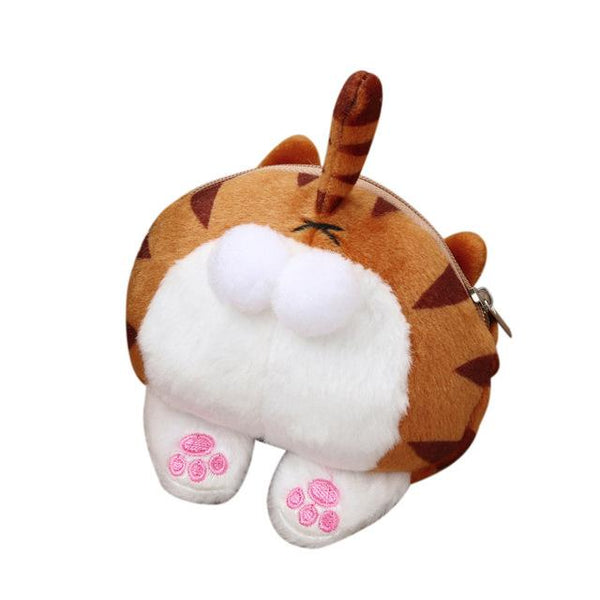 Cute Cat Butt Tail Plush Coin Purse