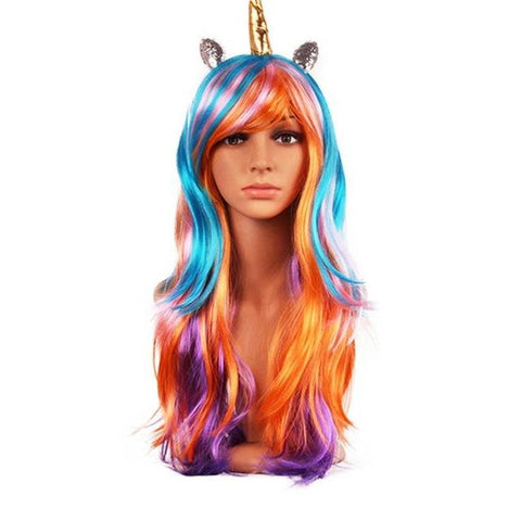 Fancy Rainbow Unicorn Horn Wig Costume