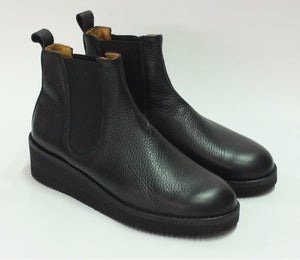 Fracap for Zitat Black Leather Chelsea Plateau Boots