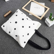 1 Pcs Lovely Dot Pattern Women Zipper Canvas Shoulder Bags Casual Shopping Bags School Handbag Simple Fashion 38*39 Cm