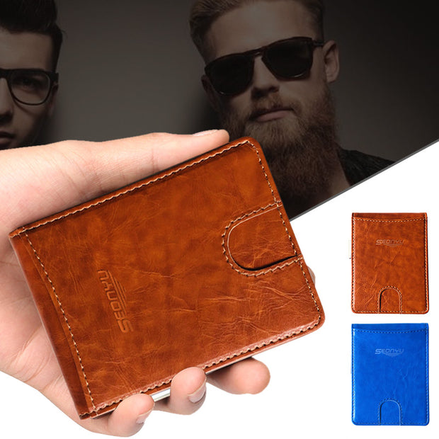 1 Pcs Men Wallet Purse Short Design PU Leather Solid Color Soft For Coin Money Cards New