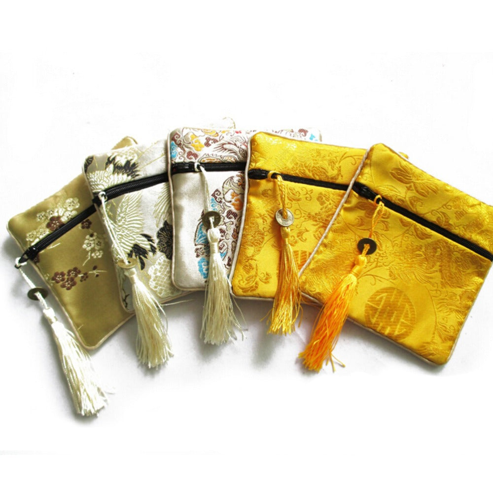 10PCS Mix Colors Chinese Zipper Coin Tassel Silk Square Jewelry Bags PouchesDL~