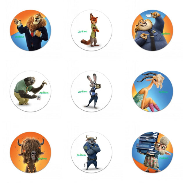 18Pcs Zootopia Hot Cartoon Buttons Pins Badges Novelty Round Badges,30MM  Diameter,Accessories For Clothing/Bags,Kids Favors
