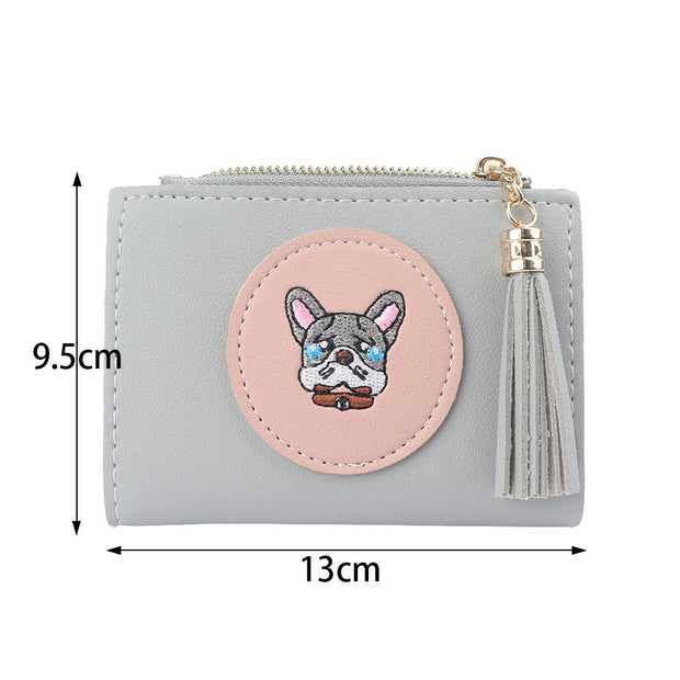 1Pc Lovely Dog Animals Pattern Women PU Leather Short Wallet Coin Purse Card Holder Delicate Women Gift Wallet