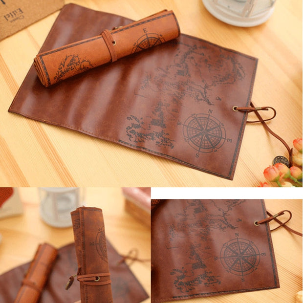1pc Vintage Pencil Cases Creative Treasure Map Roll Up Pu Leather Pen Bags Multifunction Cosmetic Bags Pouch Pocket Brush Holder