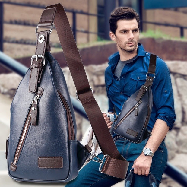 c59a0246feb6 2018 Famous Waterproof Theftproof Magnetic Button Open Leather Mens Chest  Bags Fashion Travel Crossbody Bag Man Messenger Bag