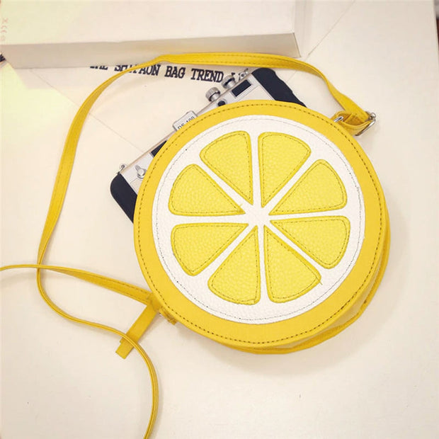 2018 Female Fashion Personality Round Lemon Shoulder Bag Dropship 180223