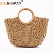 2018 Moroccan Palm Basket Bag Women Hand Woven Round Straw Bags Natural Oval Beach Bag Big Tote Circle Handbag Dropshipping