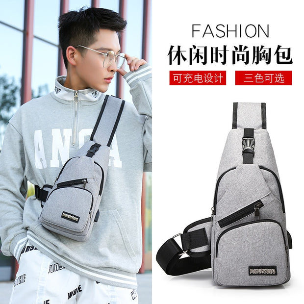 2018 New Arrival Male Shoulder Bags USB Charging Crossbody Bags Men Anti Theft Chest Bag Outdoor Computer Bag