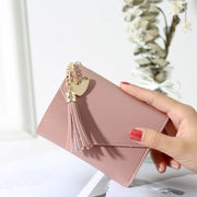 2018 New Fashion Pu Leather Women Simple Short Wallet Tassel Mini Coin Purse Card Holders Girls Wallets Small Solid Designer Bag