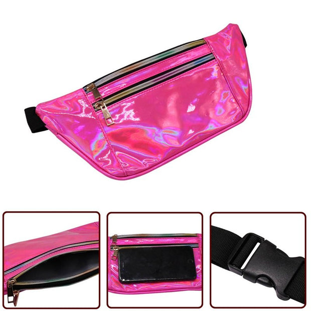 02b026722e93 2018 New Punk Laser Waist Bag Lady Girl Rainbow PVC Laser Transparent Fanny  Pack Women Purse Waist Bag