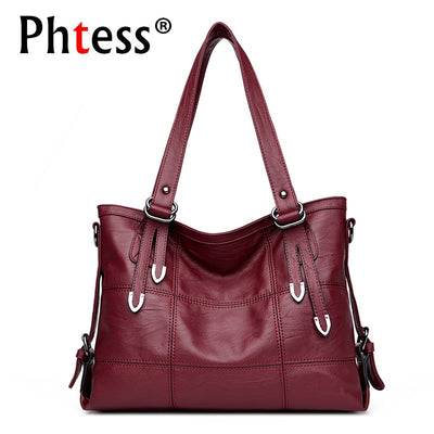 2018 New Top-Handle Bags For Women Leather Handbags Luxury Brand Sac Large Capacity Tote Bag Female Plaid Shoulder Bags Vintage