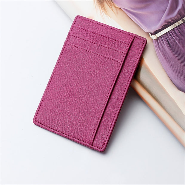 2018 Top Unisex Genuine Leather Solid Credit Card Holder Small Package Bag Ladies Real Pickup Slim Leather Clip Female Bank Set