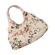 2018 New Hot Fashion And High Quality Casual Vintage Retro Style Women Canvas Bow Flora Printing Mini Handbag(Khaki Flower)