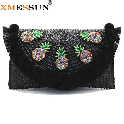 2019 New High Quality Beach Bag Straw Clutch Messenger Bag Envelope Bag Women Lady Day Tassels Pineapple Summer Crossbody Bags