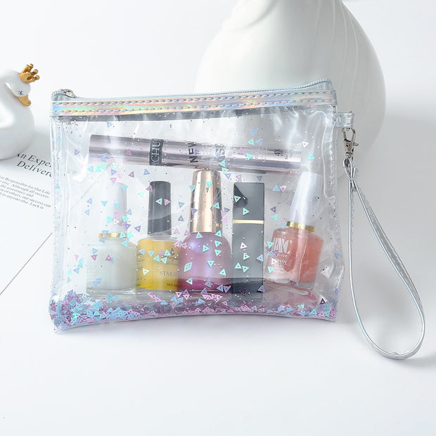 2019 New Travel Transparent Cosmetic Toiletry Bag Organizer Ladies PVC Sequins Package Sand Glitter Powder Korean Hand-washing