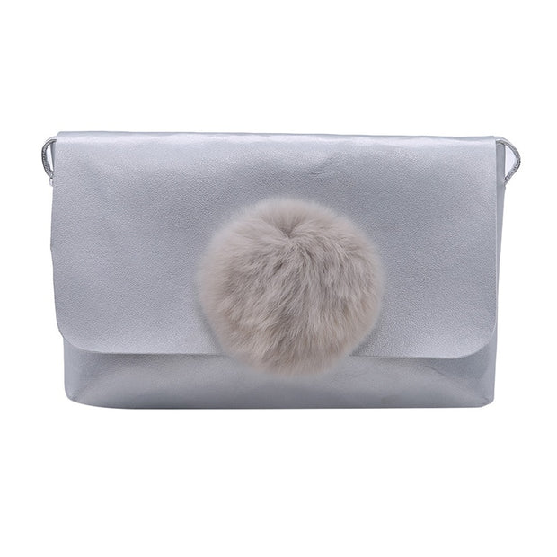 2019 Pu Leather Cute Girls Coin Bags Purse Hairball Solid Color Fashion Children Gifts Casual Wallet